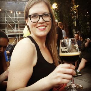 Jen drinking Péché Mortel
